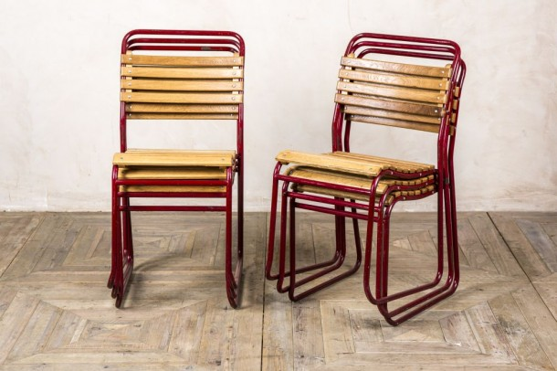 Vintage Slatted Outdoor Stacking Chair