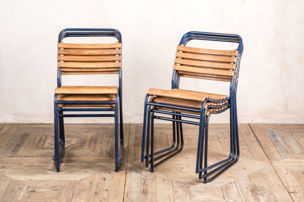Vintage Slatted Blue Stacking Chairs