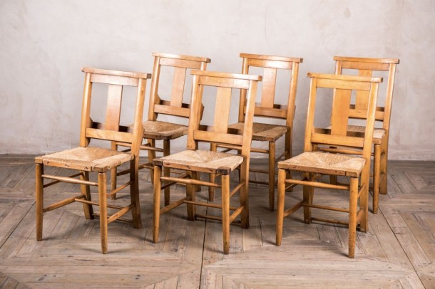 Vintage Rush Seat Chapel Chairs