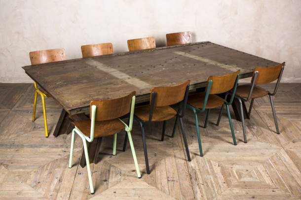 Large Upcycled Steel Dining Table