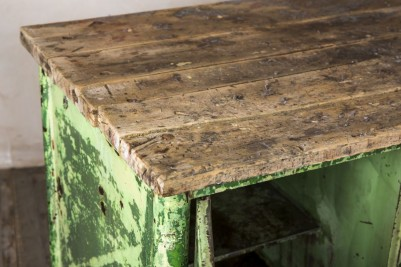 distressed green sideboard