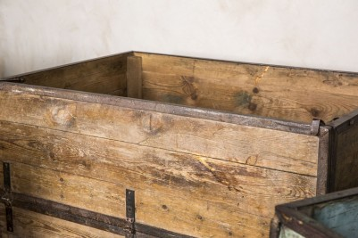 wooden industrial vintage crates on wheels