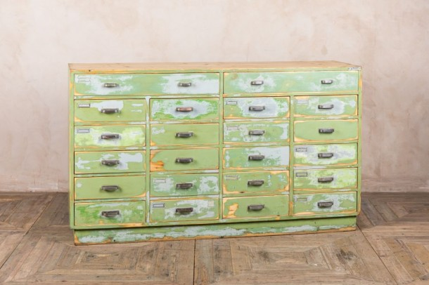 Distressed Green Multi-Drawer Haberdashery