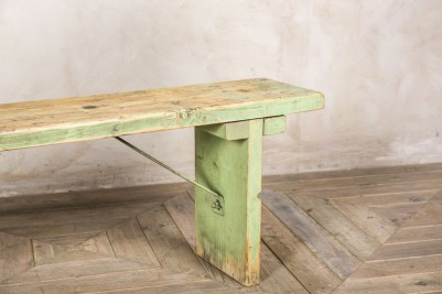 distressed green industrial bench