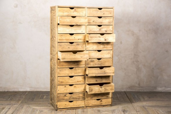 Vintage Pine Bank of Drawers