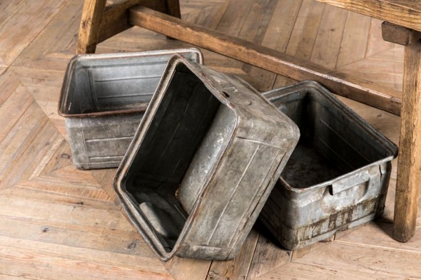 Vintage Industrial Metal Trays