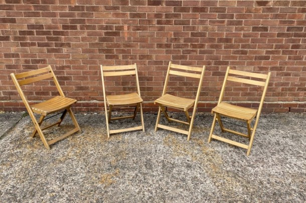 Vintage Outdoor Wooden Folding Chairs
