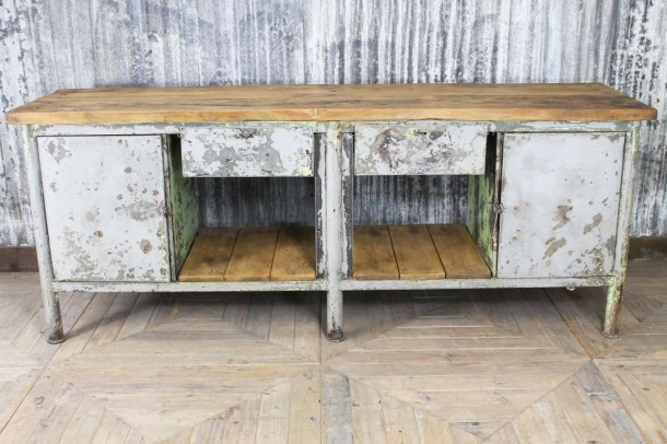 Industrial Distressed Metal Sideboard