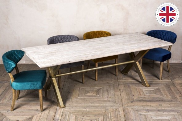 Sheffield X-frame Table with Elm Top