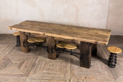 rustic style dining table with swing out seats