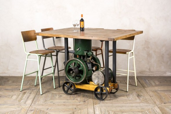 Industrial Style Stationary Engine Dining Table