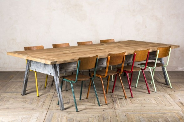 Upcycled Industrial Kitchen Table with Storage