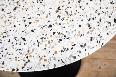light round terrazzo dining table