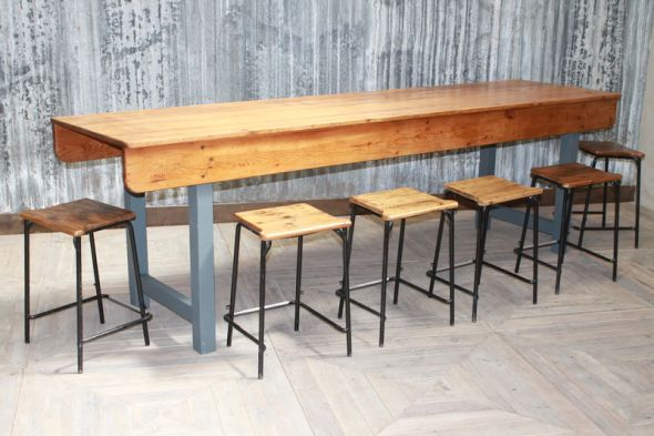 3.05m Large Pine Factory Table