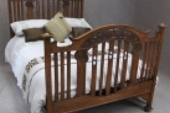 Victorian Oak Arts & Crafts Double Bed