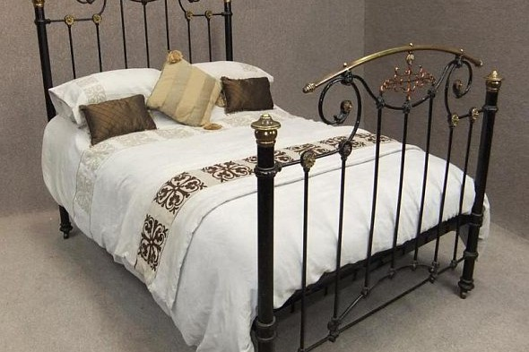 Art Nouveau Brass Iron and Copper Double Bed