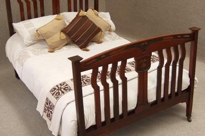 Arts & Crafts/Art Nouveau red walnut double bed