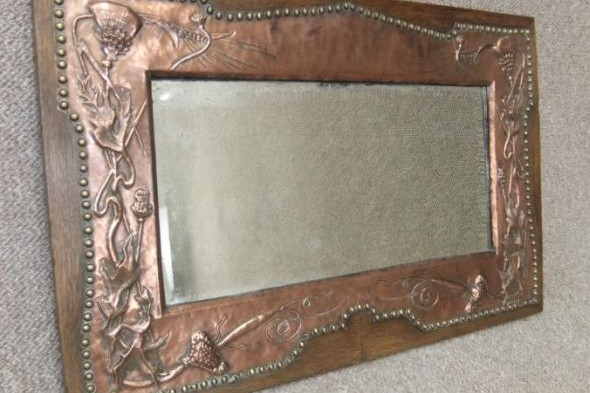 Arts & Crafts Copper Mirror