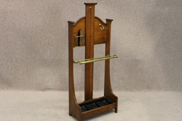 ARTS & CRAFTS OAK STICK STAND VICTORIAN