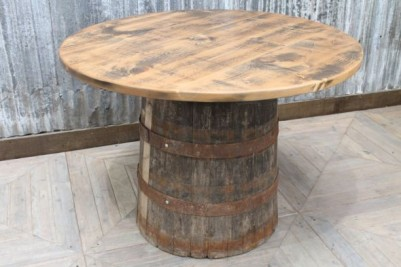 vintage barrel bar table