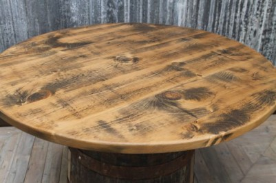 wooden wine barrel table