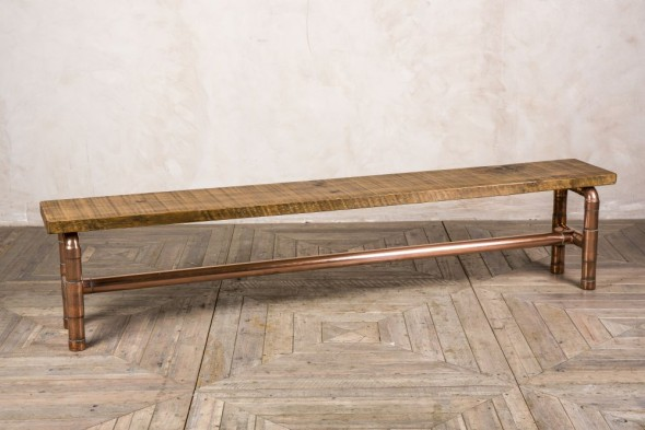Handmade Copper Pipework Bench