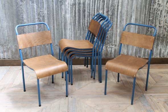 Blue Framed Stacking Chairs