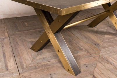 metal edged dining table