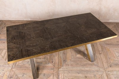metal edged x-frame table
