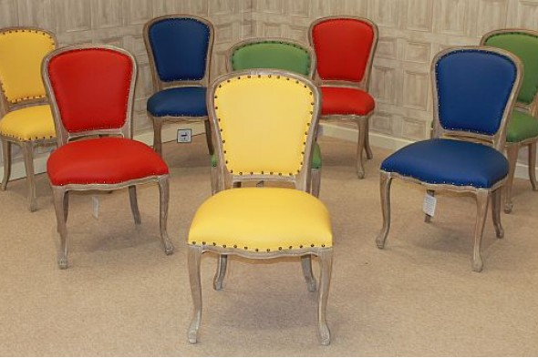 LEATHER DINING CHAIRS REUPHOLSTERED FRENCH STYLE CHAIR