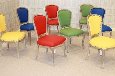 multicoloured leather chairs
