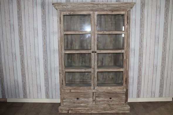 Limed 2 Door/2 Drawer Glass Cabinet