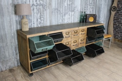 vintage style industrial cabinet unit