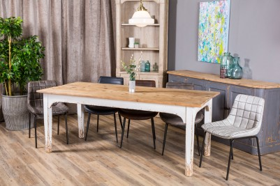 faux leather dining chairs and shabby chic table