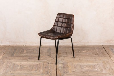 chestnut faux leather dining chair