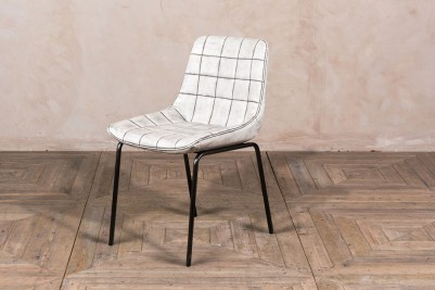 white faux leather dining chair