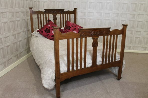 Arts and Crafts Bed Carved and Decorated Antique Oak Double Bed