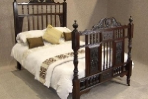 Carved Victorian Walnut Double Bed