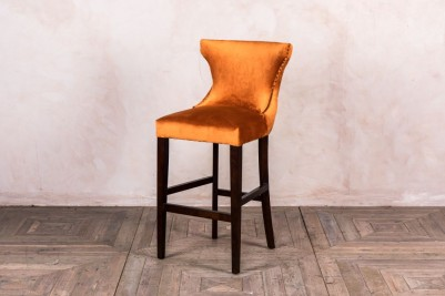burnt orange velvet stool