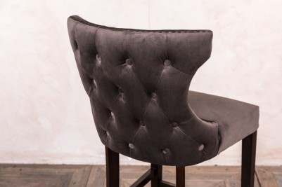 button back grey velvet stool
