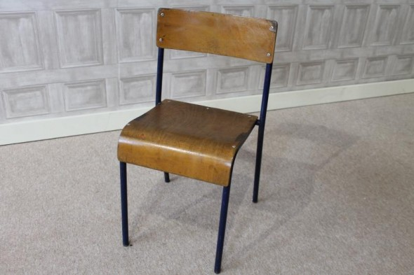 Childs stacking chair with blue frame