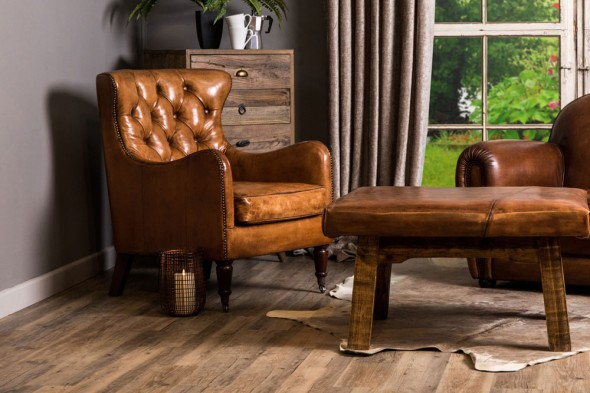 Hereford Leather Chesterfield Armchair