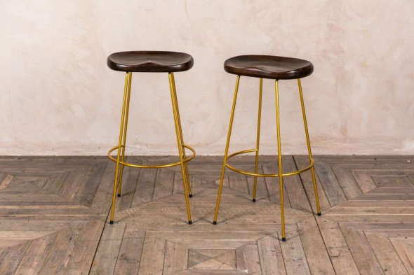 Pair of Gold Bar Stools