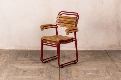 red slatted chair
