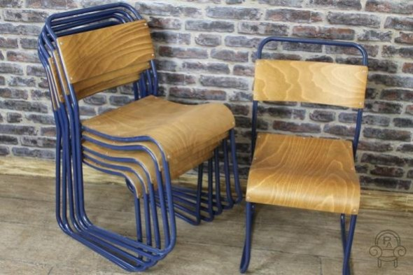 Disc - RED or WOODEN SEAT Navy blue frame Chelsea chair