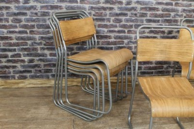 silver framed stacking chairs