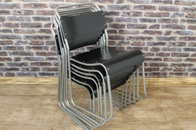 vintage industrial style stacking chairs