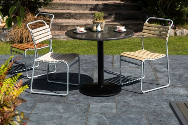 Steel Stacking Chairs with Slatted Seats