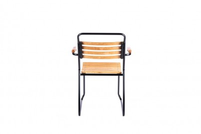 back of outdoor stacking slatted garden chair with arms