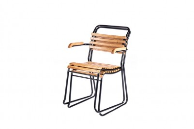 stacking slatted outdoor garden chair